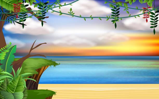 landscape landscape of cliff onthe beach in sunset dusk stock illustrations