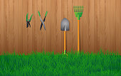 Gardening tools at wooden wall in the garden