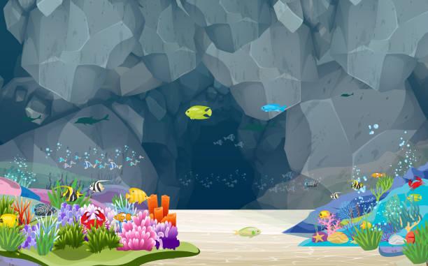 stockillustraties, clipart, cartoons en iconen met landschap - ocean under water