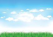 grass and clouds, vector format