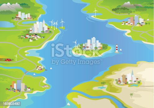 Landscape with windmills, cities and an island in the middle of the sea.