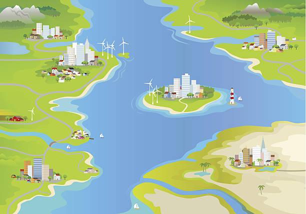 bildbanksillustrationer, clip art samt tecknat material och ikoner med landscape - map oceans