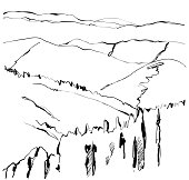 Landscape vector illustration. Hand drawn mountains sketchs