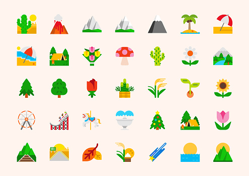 Landscape vector illustration icons set. Nature, national park, plants, mountains, gardening colorful isolated symbols collection