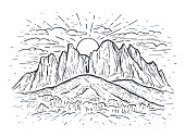 Landscape vector sketch illustration with a mountains, rocks, trees and sun. Black line isolated on white. Nature background. Design for t-shirt print, postcard, poster, cover, engraving
