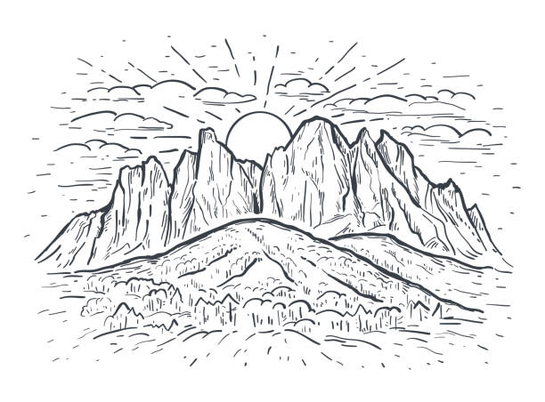 Landscape vector sketch illustration with a mountains, rocks, trees and sun. Black line isolated on white. Nature background. Landscape vector sketch illustration with a mountains, rocks, trees and sun. Black line isolated on white. Nature background. Design for t-shirt print, postcard, poster, cover, engraving cliffs stock illustrations