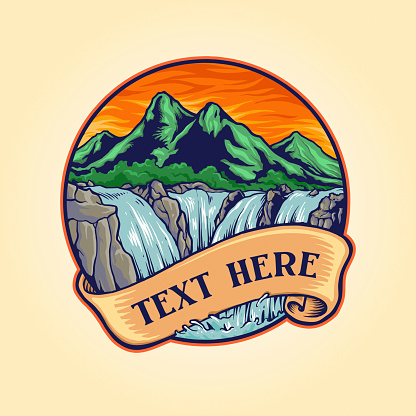 Landscape Waterfall Logo Vintage illustrations for your work Logo, mascot merchandise t-shirt, stickers and Label designs, poster, greeting cards advertising business company or brands