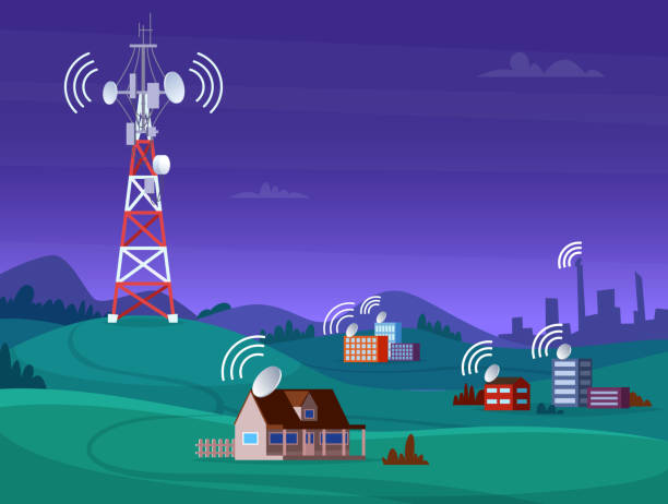 Landscape wireless tower. Satelite antena mobile coverage television radio cellular digital signal vector illustration Landscape wireless tower. Satelite antena mobile coverage television radio cellular digital signal vector illustration. Communication antenna tower for internet broadcast antenna aerial stock illustrations