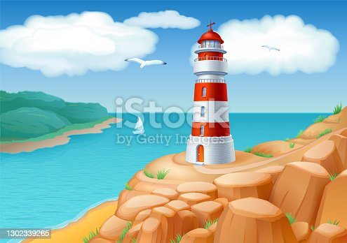 istock Landscape with a Lighthouse 1302339265