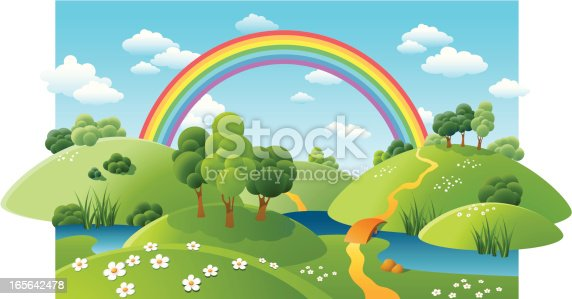 Landscape with a rainbow, river and flowerings camomiles