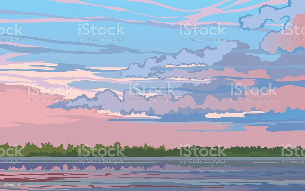 Landscape with a River royalty-free landscape with a river stock vector art & more images of art