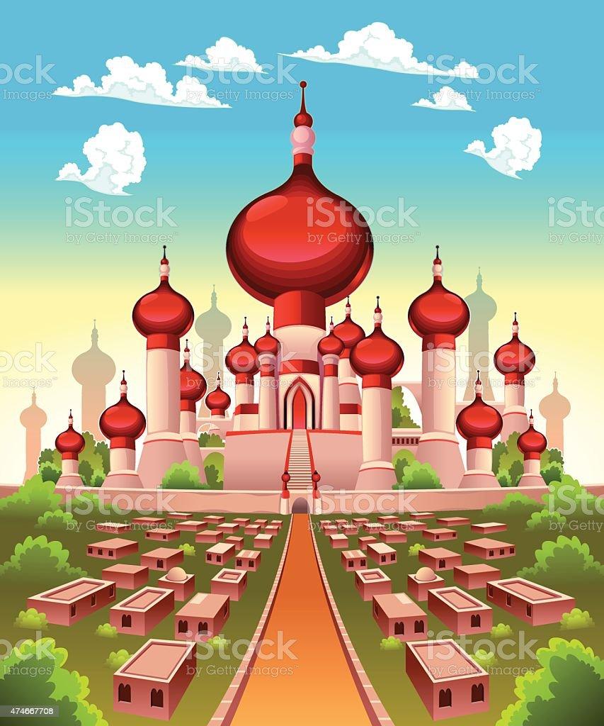 Landscape with Arabian castle vector art illustration