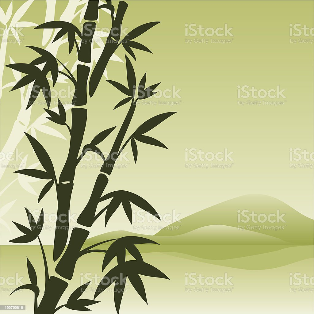 landscape with bamboo royalty-free stock vector art