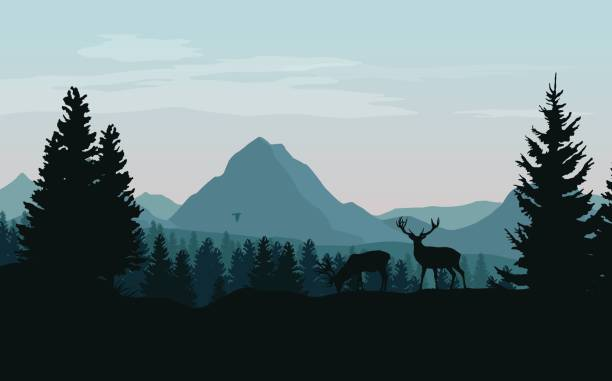 Landscape with blue mountains, forest and silhouettes of trees and wild deers - vector illustration Landscape with blue mountains, forest and silhouettes of trees and wild deers - vector illustration backgrounds clipart stock illustrations