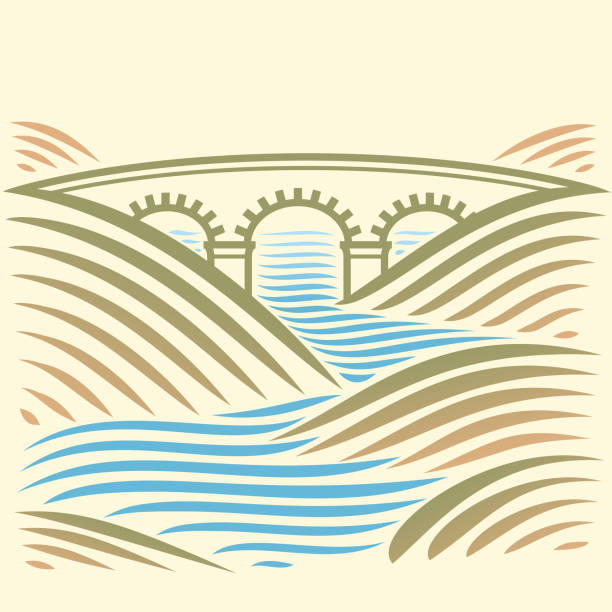 Landschaft mit Brücke über den Fluss. – Vektorgrafik