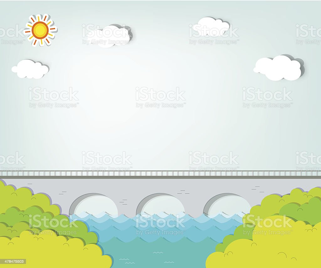 Landscape with bridge vector art illustration