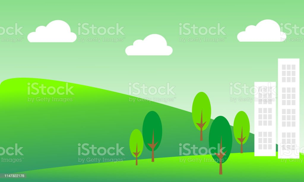 Landscape With Buildings And Trees Ecofriendly Concept Ideas Stock