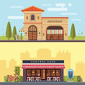 Landscape with buildings restaurant and cafe. Cityscape. Vector flat illustration