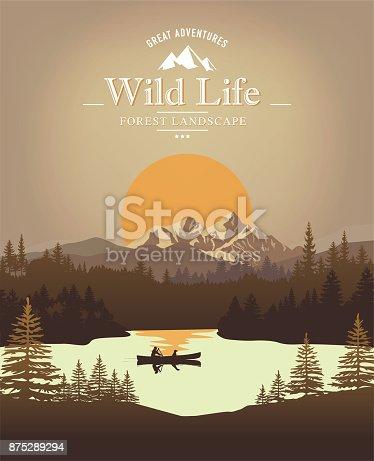 istock Landscape with canoe 875289294