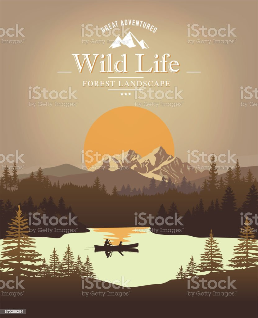 Landscape with canoe vector art illustration