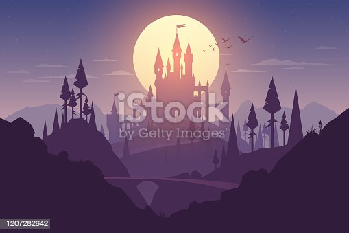 Landscape with castle and sunset illustration in vector