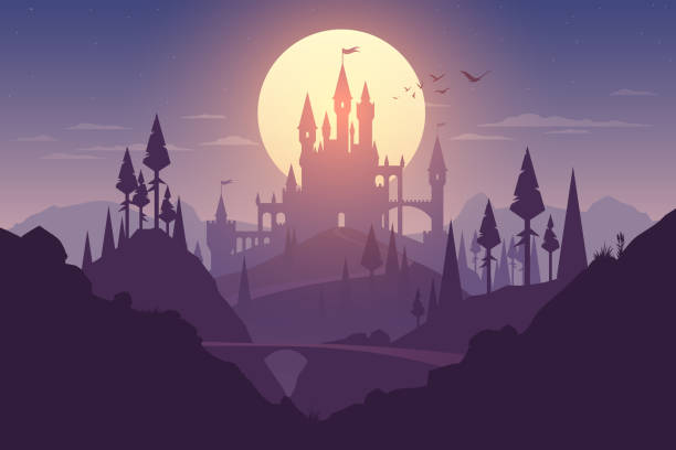 Landscape with castle and sunset illustration Landscape with castle and sunset illustration in vector dreamlike stock illustrations