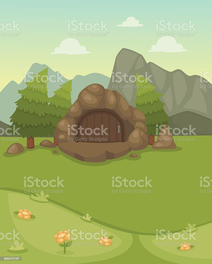 landscape with cave vector vector art illustration