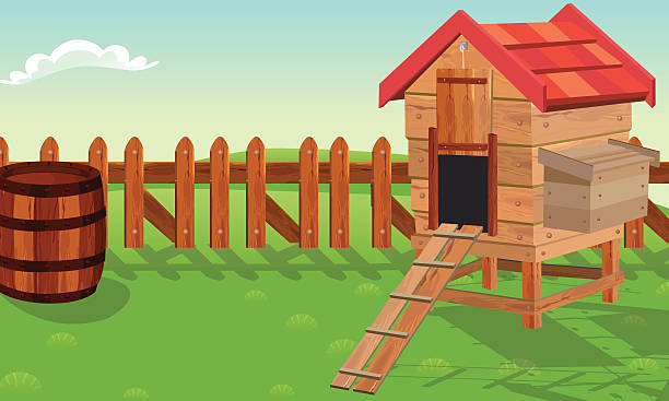 Landscape With Chicken Coop Vector Art Illustration