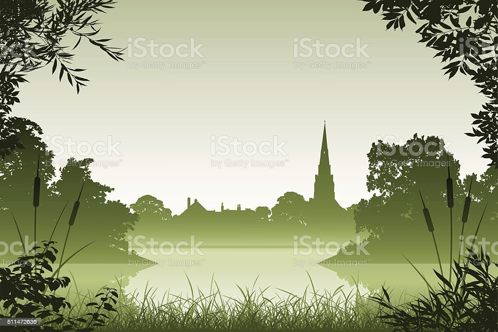 Landscape with Church vector art illustration