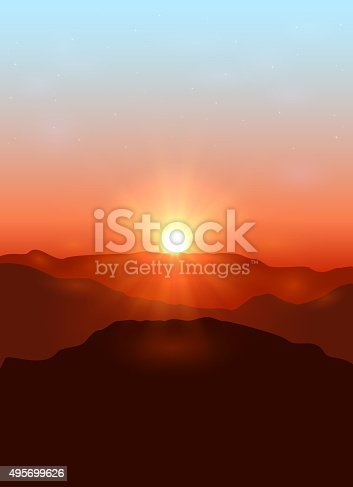 Beautiful landscape with dawn in the mountains, illustration.