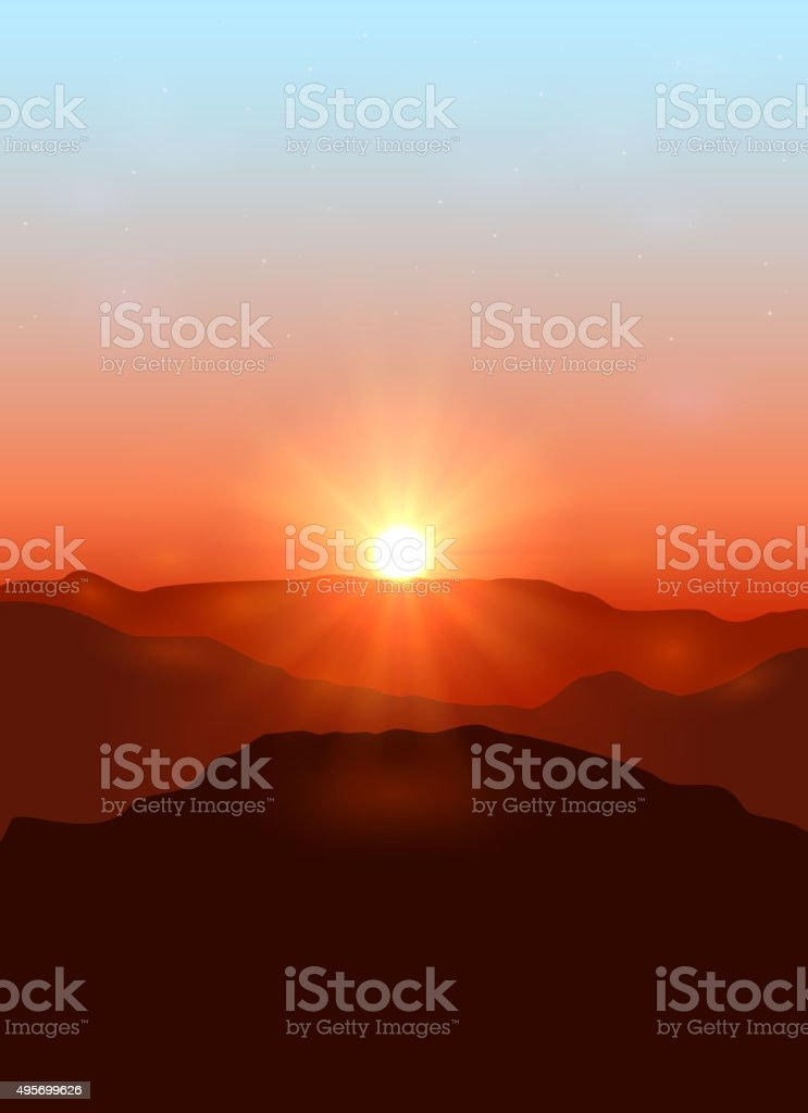 Landscape with dawn in the mountains vector art illustration