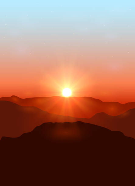 landscape with dawn in the mountains - sunrise stock illustrations, clip art, cartoons, & icons