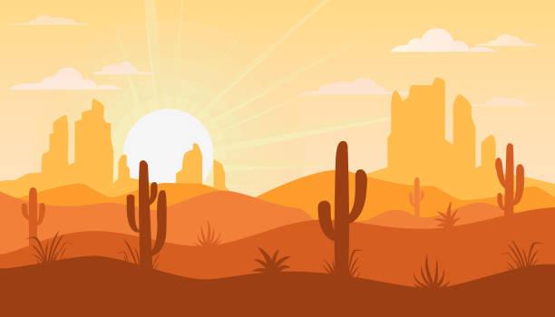 ilustraciones, imágenes clip art, dibujos animados e iconos de stock de paisaje con desierto y cactus - desierto