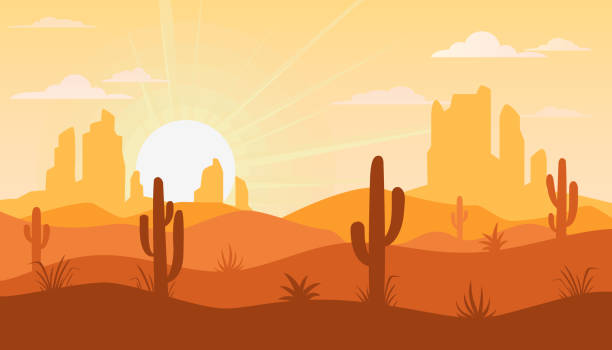 Landscape with desert and cactus vector art illustration