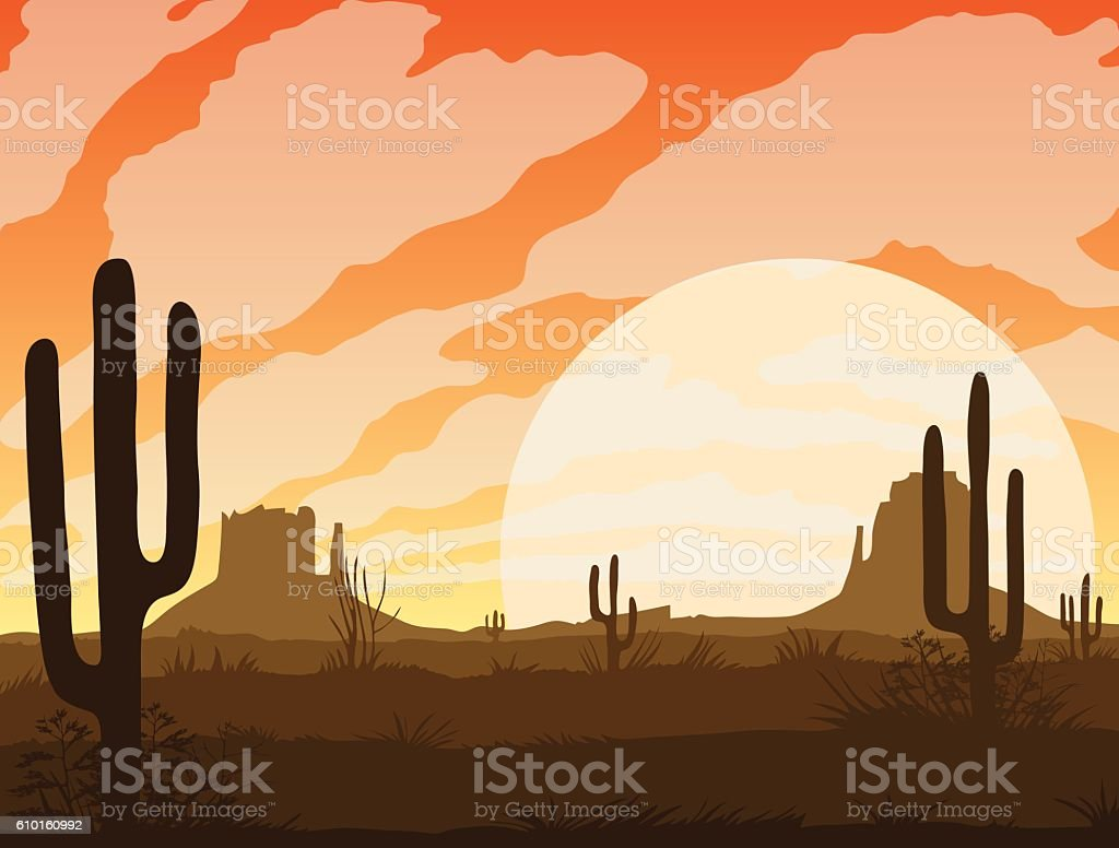 Landscape with desert and cactus royalty-free landscape with desert and cactus stock illustration - download image now