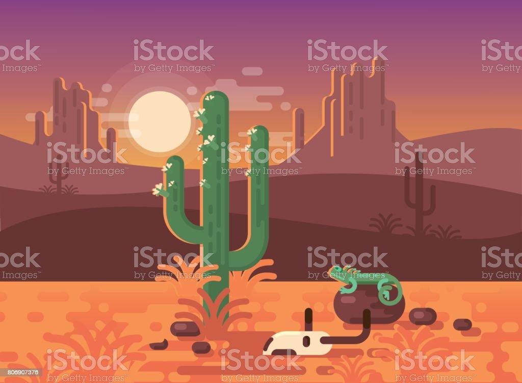 Landschaft Mit Wüste Kaktus Schädel Und Eidechse Stock Vektor Art ...