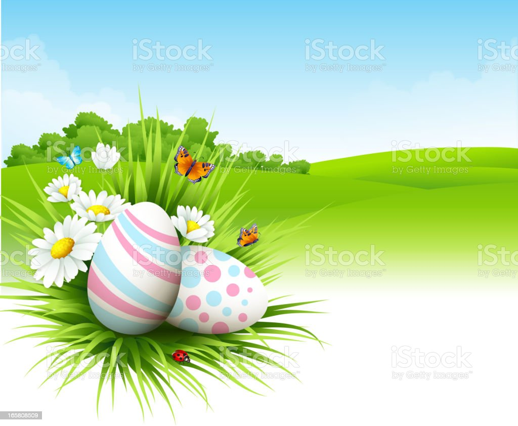 Landscape with Easter eggs royalty-free stock vector art