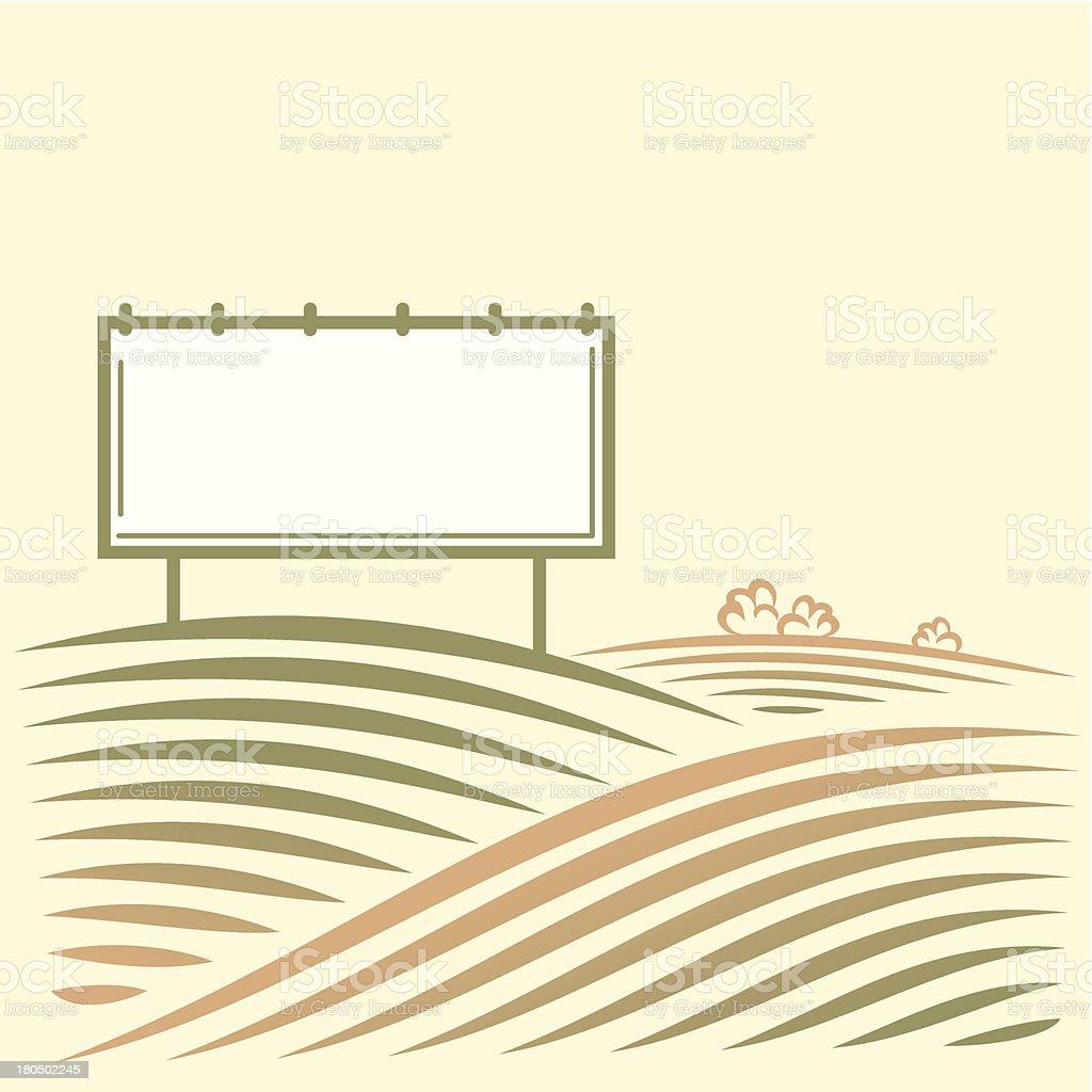 Landschaft mit leeren billboard für ihre Werbung in einem Feld – Vektorgrafik