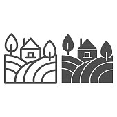 Landscape with farm house and trees line and solid icon. Rural field with home outline style pictogram on white background. Winery and agriculture for mobile concept and web design. Vector graphics