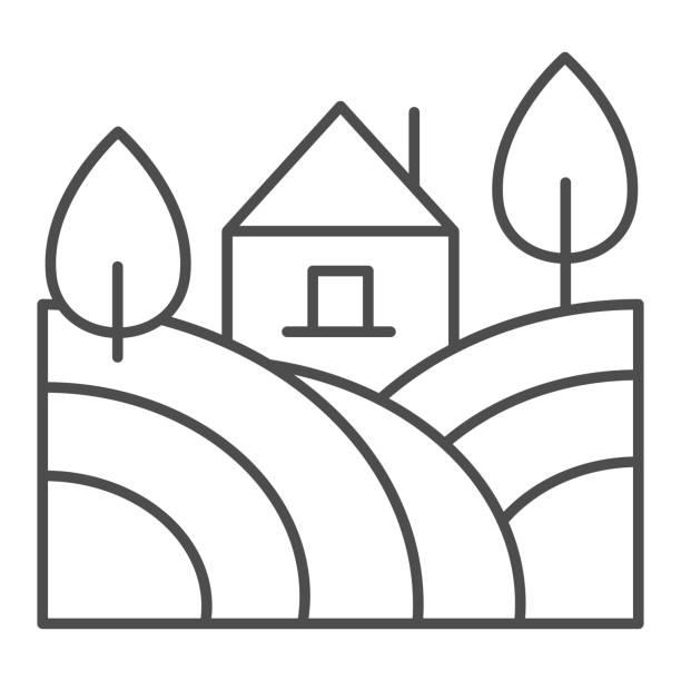 landschaft mit bauernhaus und bäumen dünne linie symbol. ländliches feld mit home-outline-stil piktogramm auf weißem hintergrund. weingut und landwirtschaft zeichen für mobiles konzept und web-design. vektorgrafiken. - landhaus stock-grafiken, -clipart, -cartoons und -symbole