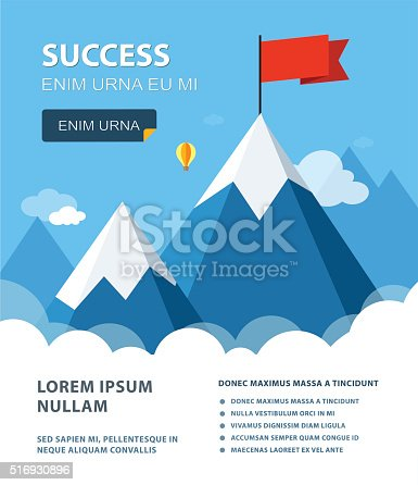 Landscape with flag on the mountain. Success concept