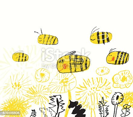 Vector illustration of hand drawn flowers and bees