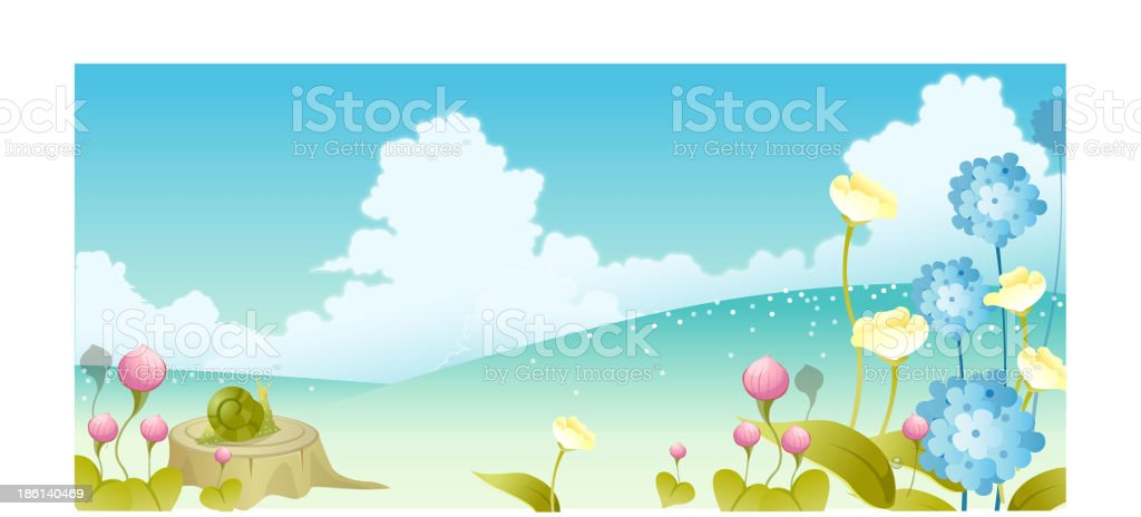 Landscape with flowers and sky vector art illustration