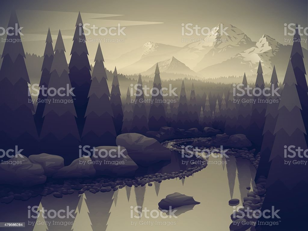 Landscape with forest river and mountains Beautiful landscape with forest river and mountains. Black and white style. BW style. Vector illustration. 2015 stock vector