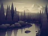 Beautiful landscape with forest river and mountains. Black and white style. BW style. Vector illustration.