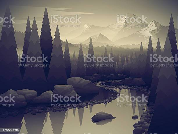 Landscape With Forest River And Mountains Stock Illustration - Download Image Now