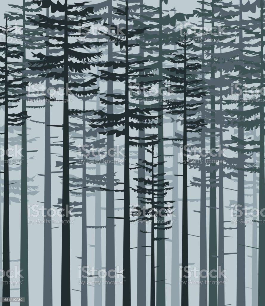 Landscape with forest vector art illustration