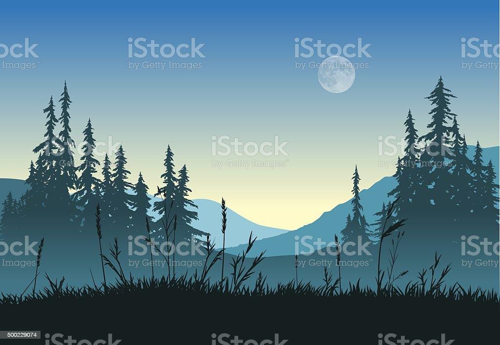 Landscape with full moon vector art illustration