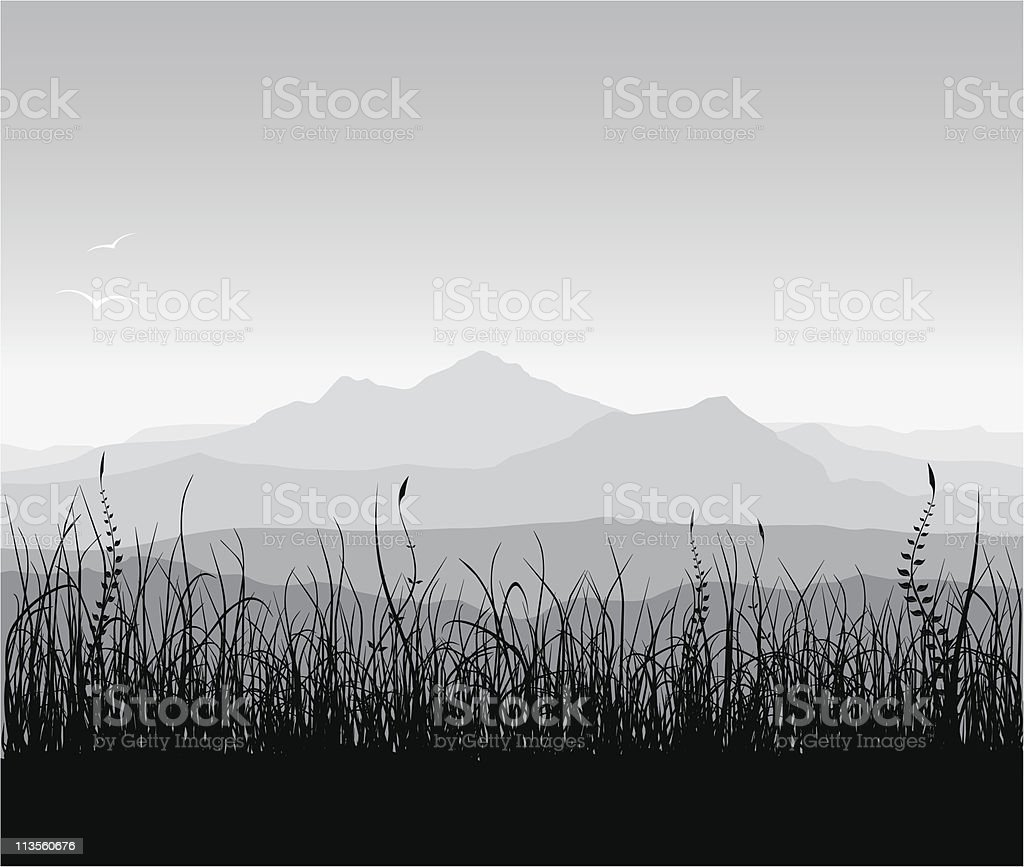 Landscape with grass and mountains vector art illustration