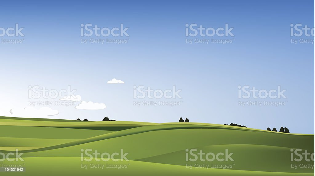 Landscape with green field royalty-free stock vector art